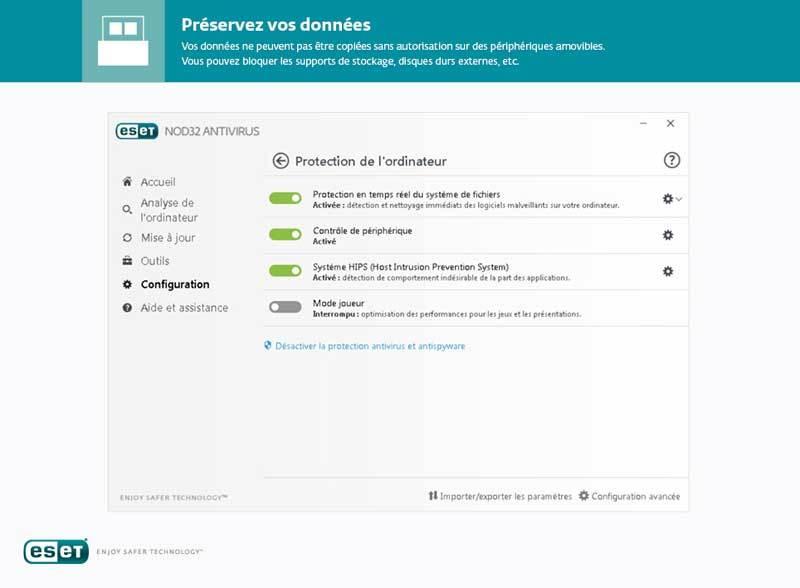 Capture d'écran ESET NOD32 Antivirus Edition 2017