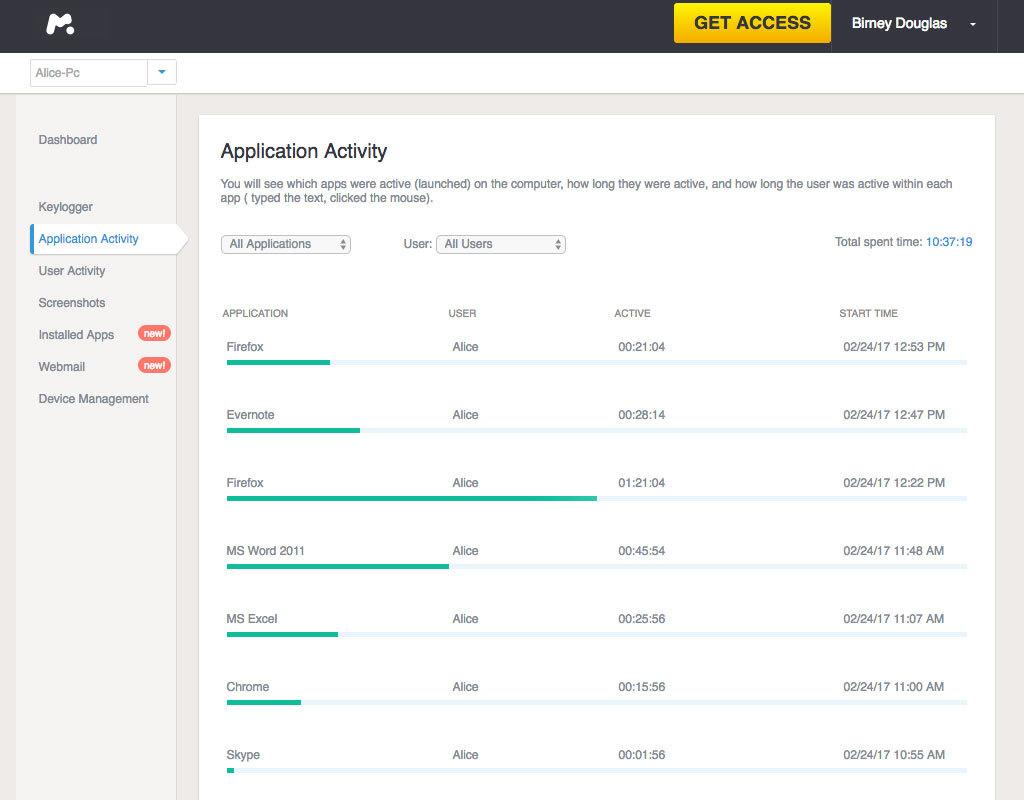 Capture d'écran mSpy pour ordinateurs - 12 mois d'abonnement