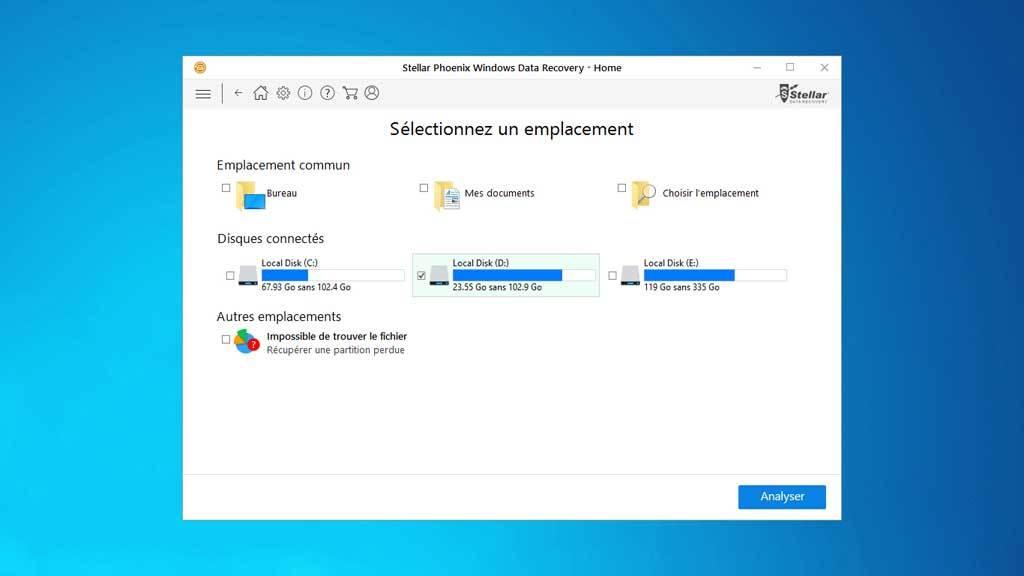 Capture d'écran Stellar Phoenix Windows Data Recovery Home