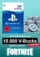 PSN 100 EUR Guthaben-Aufstockung (deutsches Konto) - u.a. für Fortnite - 10.000 V-Bucks + 3.500 extra V-Bucks