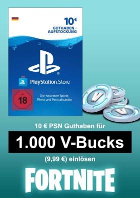 PSN 10 EUR Guthaben-Aufstockung (deutsches Konto) - u.a. für Fortnite - 1.000 V-Bucks