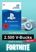 PSN 25 EUR Guthaben-Aufstockung (deutsches Konto) - u.a. für Fortnite - 2.500 V-Bucks + 300 extra V-Bucks