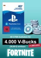 PSN 40 EUR Guthaben-Aufstockung (deutsches Konto) - u.a. für Fortnite - 4.000 V-Bucks + 1000 extra V-Bucks